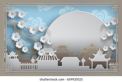 Branches of cherry flowers, china town village on blue background, sky, sun, clouds. Oriental pattern frame for banner, poster, chinese new year greeting card, paper cut out style, vector illustration