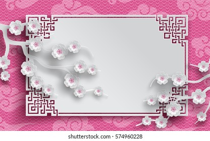 branches of cherry flowers, oriental frame on pink japan pattern background for chinese new year greeting card, banner, wallpaper or poster, paper cut out style. Vector illustration