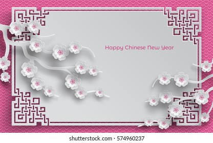 branches of cherry paper flowers, oriental frame on pink pattern background for chinese new year greeting card, paper cut out style. Vector illustration