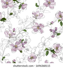 Branches with flowers apple blossom and green leaves on white background. Floral seamless pattern. Hand drawn. For textile, wallpapers, print, wrapping paper. Vector stock illustration.