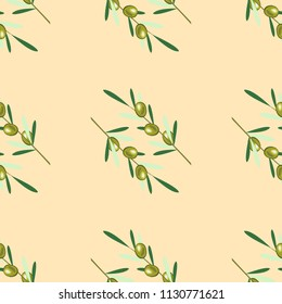 Branches of olive tree. Seamless pattern. Green olive fruit, leaves. Beige background