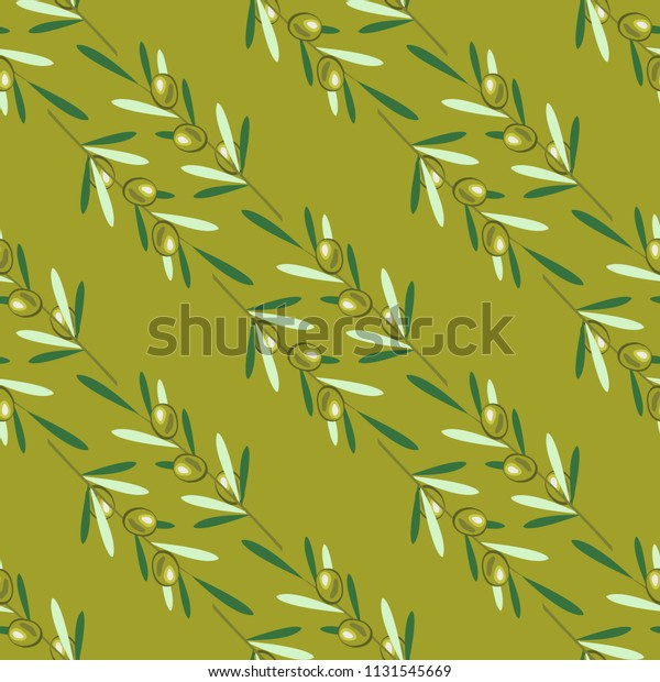 Branches of olive tree. Seamless pattern. Green olive fruit, leaves. Olive background