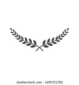 Branches of olives, flat silhouette, black, white, symbol wreaths depicting an award, heraldry, laurel, achievement, victory, crown, winner, ornate,Vector  icon illustration.