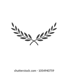 Branches of olives, symbol of victory, vector illustration, flat silhouette, black, white, icon, object for design, laurel, wreath, awards, roman
