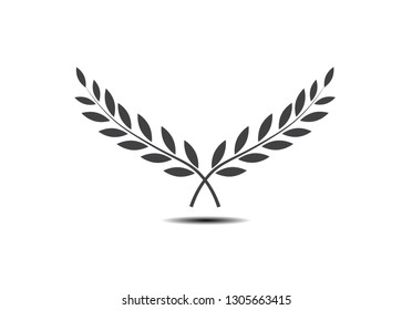 Branches of olives  symbol of victory.  Vector illustration  flat silhouette  black  white  icon  object for design  laurel  wreath  awards  roman  victory  crown  winner.Vector illustration EPS 10.
