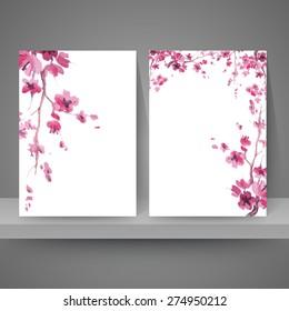 Branches of sakura. Vector desing templates. Watercolor painting.