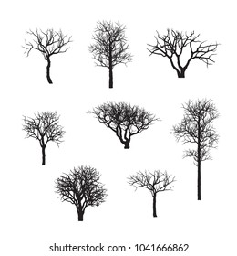 branches and shadows of bonsai tree. branch silhouette icon set, symbol, design. vector illustration isolated on white background