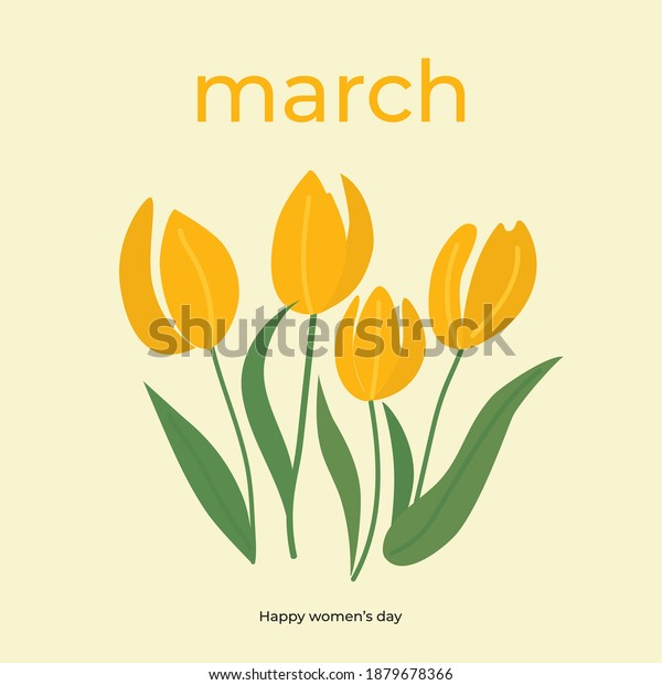 Branches of tulip flowers and green leaves. Bouquet of yellow tulips isolated on white. Floral march design. Greeting card template. Women's day festive vector illustration