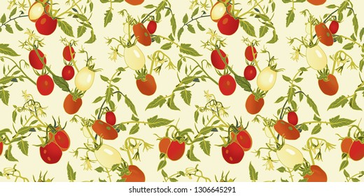branches vector repeat pattern with red tomatoes, blossoms and branches.Novelty pattern. Kitchen.