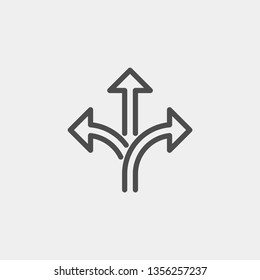 Branching arrow flat vector icon. Arrow triple flat vector icon
