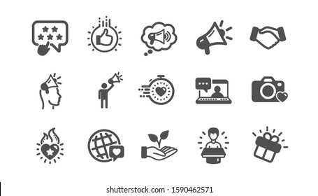 Brand ambassador icons. Influence people, Megaphone and Representative. Handshake, influencer marketing person, ambassador person icons. Classic set. Quality set. Vector