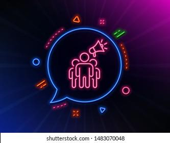 Brand ambassador line icon. Neon laser lights. Holding megaphone sign. Advertisement device symbol. Glow laser speech bubble. Neon lights chat bubble. Banner badge with brand ambassador icon. Vector