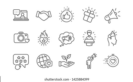 Brand ambassador line icons. Influence people, Megaphone and Representative. Handshake, influencer marketing person, ambassador person icons. Linear set. Vector