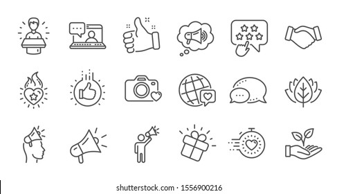 Brand ambassador line icons. Influence people, Megaphone and Representative. Handshake, influencer marketing person, ambassador person icons. Linear set. Quality line set. Vector