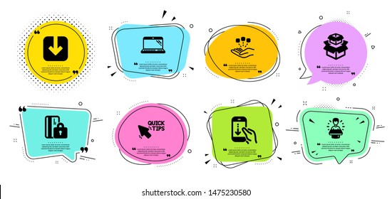Brand ambassador, Scroll down and Consolidation line icons set. Chat bubbles with quotes. Load document, Blocked card and Laptop signs. Packing boxes, Quick tips symbols. Vector