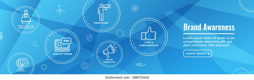 Brand Ambassador Thin Line Outline Icon Web Banner Set with Megaphone, Influencer Marketing Person and Representative