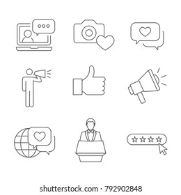 Brand Ambassador Thin Line Outline Icon Set with Megaphone, Influencer Marketing Person and Representative