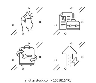 Brand ambassador, Vacancy and Luggage line icons set. Energy growing sign. Megaphone, Hiring job, Baggage locker. Power usage. Line brand ambassador outline icon. Vector