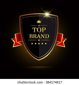 The brand award label golden colored with ribbon and crown, vector illustration.