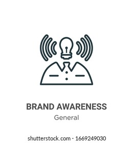 Brand awareness outline vector icon. Thin line black brand awareness icon, flat vector simple element illustration from editable general concept isolated stroke on white background
