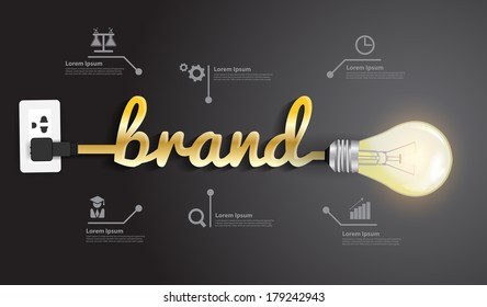 Brand concept, Creative light bulb idea abstract infographic  layout, diagram, step up options, Vector illustration modern design template
