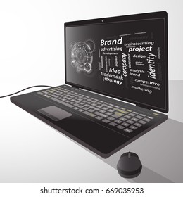 Brand concept. Inscriptions with a techno circle. Laptop, desktop computer. From the side. Illustration for your design