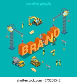 Brand creation branding process flat 3d isometric concept web vector illustration. Construction site workers vehicles concrete mixer bulldozer crane building big word. Creative people collection.