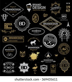 BRAND DESIGN ELEMENTS INDUSTRIAL STYLE. Brand elements such as logo for business, labels, ribbons, symbols...Editable vector illustration file.
