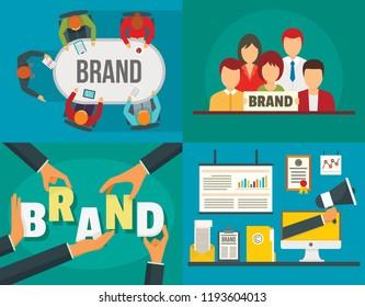 Brand employer identity banner set. Flat illustration of brand employer identity vector banner set for web design