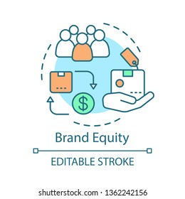 Brand equity concept icon. Brand management idea thin line illustration. Strategy analysis. Company products, services added value. Vector isolated outline drawing. Editable stroke