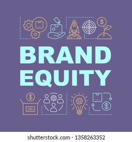 Brand equity word concepts banner. Added value of company products or services.  Brand management. Presentation, website. Isolated lettering typography idea, linear icons. Vector outline illustration