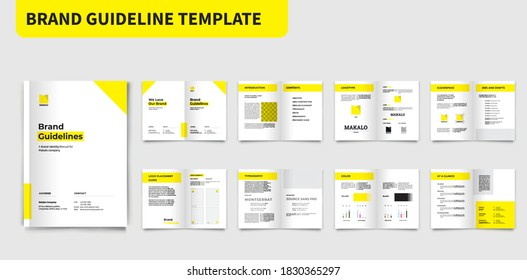 Brand Guidelines Template Yellow Brand Manual Template Brand Guide Brochure Brand Guide Book Brochure Layout