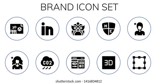 brand icon set. 10 filled brand icons.  Collection Of - d, Influencer, Linkedin, Co, Dragon, Cms, Emblem, Transformation