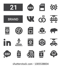 brand icon set. Collection of 21 filled brand icons included Co, Energy drink, Lion, d, Linkedin, Bison, Sd, Chrome, Engagement, VK, Emblem, H o
