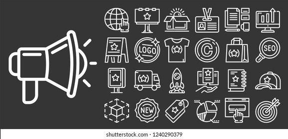 Brand icon set. Outline set of brand vector icons for web design isolated on gray background