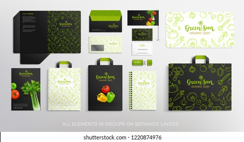 Brand identity Concept with Vegetable line icons pattern design for, restaurant and food shop. Vegetal Logo template with vector vegetables. Folder, shopping bag and stationery objects mockups