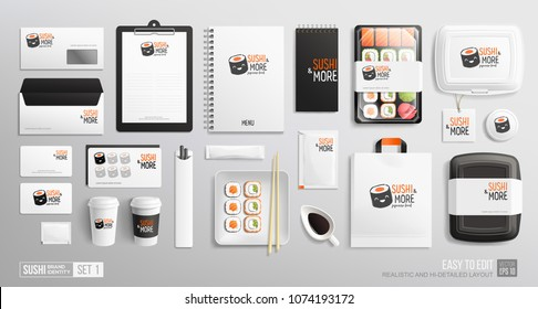 Brand identity Mockup set for Sushi Bar, Japanese restaurant. Corporate style Sushi package mockup set of lunch box, rolls, chopsticks, paper bag, menu