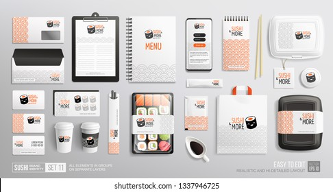 Brand identity Mockup set of Sushi rolls package, sticks, lunch box, rolls, chopsticks, shopping bag, menu, mobile  delivery app. Corporate style for Sushi Bar, Japanese restaurant. Vector mockups