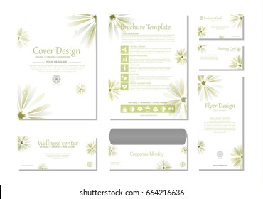 Brand identity. Set of minimalistic branding products for business, spa, health care and natural organic topics.
