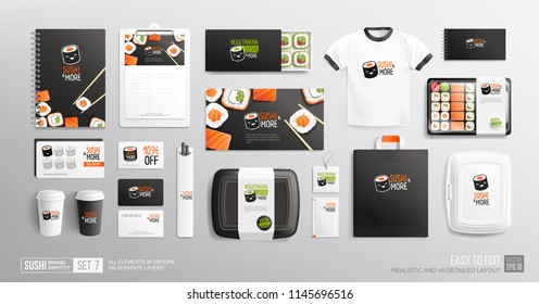 Brand identity vector Mockup set for Sushi Shop and Japanese food restaurant. Corporate style Sushi restaurant - realistic mockup of Vegetarian sushi logo, packaging, chopsticks, flyer, menu