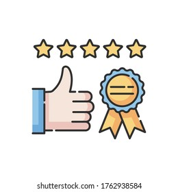 Brand image RGB color icon. Client satisfaction level. Corporate identity. Quality product. Consumer feedback. Best selling label. Company recognition. Customer service. Isolated vector illustration