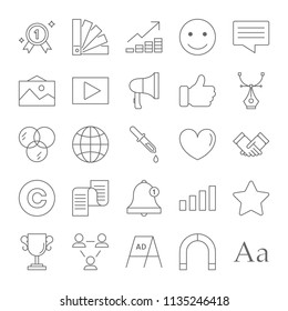 Brand line icon set. Product design, promotion and marketing strategy. From idea to succesfull business. Icons for website and app design. Isolated vector illustration