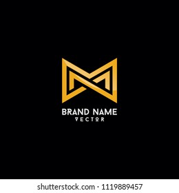 Brand Logo Design Gold Monogram M Letter