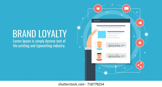 Brand Loyalty, Customer awareness, brand management, flat vector banner illustration with icons isolated on blue background