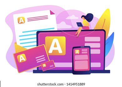 Brand marketing, corporate identity, logo design. Corporate literature, printed literature design, brand representation strategy concept. Bright vibrant violet vector isolated illustration