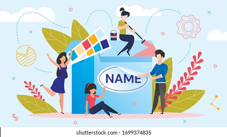 Brand Name Creation. Team Workflow Process. Woman Designer Working on Design. Man Marketer Changing Product Logotype. Rebranding. Awareness and Recognition Increase. Metaphor Vector Illustration