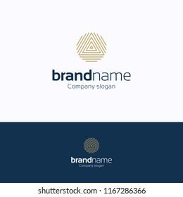 Brand name logo logo. Fingerprints gold blue logotype. Symmetry grid template
