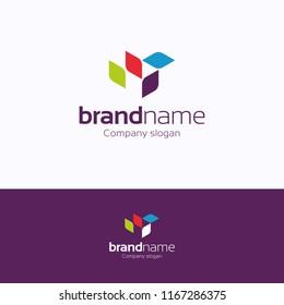 Brand name logo. Leaf multicolor logotype. Rhombus multicolor template