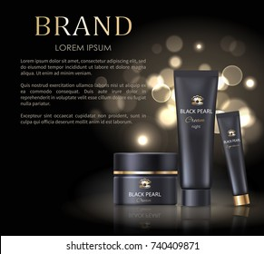 Brand name poster with black night pearl cream, set of cosmetic products for skin, skincare of face and eyes vector isolated on black with splashes