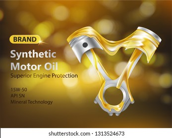 Brand new synthetic motor oil 3d realistic vector advertising banner with internal combustion engine pistons in fluid and dripping lubricant illustration. Engine protection product promotion poster